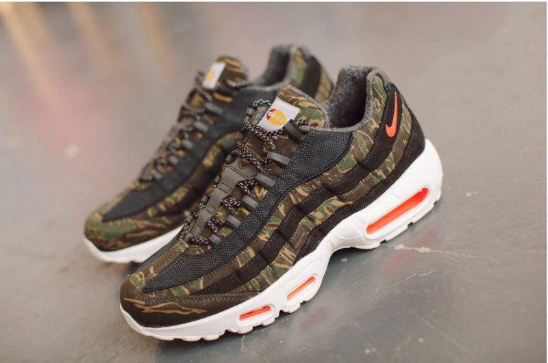 info for 6588f 9aeb7 Hype DC 4. Utilising core Carhartt fabrics like the Tiger Camo Ripstop they  have adapted the Air Max 95 for a new audience. An audience that values and  ...
