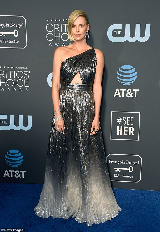 charlize theron sparkles in givenchy at critics choice awards