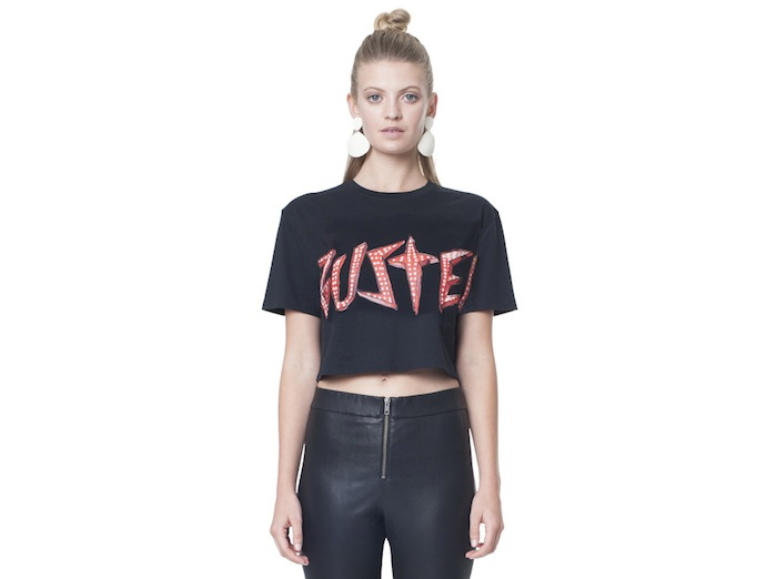 BLACK BUSTED CROP - FRONT