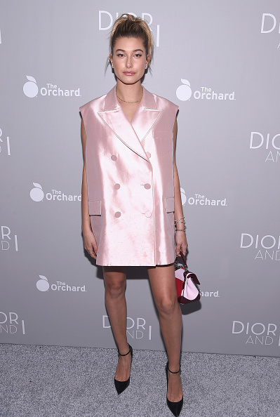 """NEW YORK, NY - APRIL 07:  Model Hailey Baldwin, shoe detail, attends """"The Orchard's DIOR & I"""" New York Screening at Paris Theater on April 7, 2015 in New York City.  (Photo by Gary Gershoff/WireImage)"""